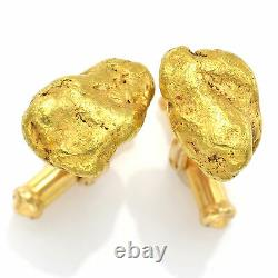 Vintage 24K Natural Yellow Gold Nugget 14K Gold Posts Cufflinks 16.9 Grams