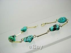 Vintage 9ct Gold Natural Turquoise Nugget Bracelet
