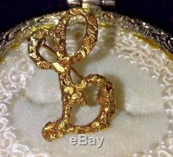 Vintage Alaskan Natural Gold Nugget Letter' L' Pin or Pendant