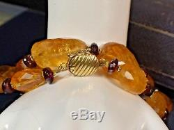 Vintage Estate Natural Citrine Nugget Garnet 18 Necklace 14K Yellow Gold Clasp