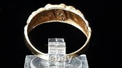 Vintage GTR 10K Yellow & White Gold Diamonds Nugget Style Ring Band