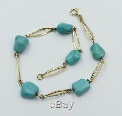 Vintage Handmade 14k Yellow Gold Natural Turquoise Nugget Link Bracelet
