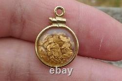 Vintage Natural Nuggets Encased With Gold Filled Frame & Bail Pendant 1.5 Gm