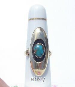 Vintage Navette 14 Karat Gold Turquoise Ring, 6.8 grams, Size 5.5