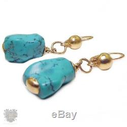 Vintage solid 18k gold natural turquoise nugget pair of drop earrings 1970's