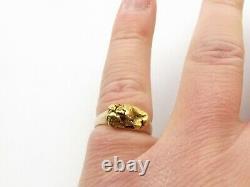 Vtg 10K Gold Nugget Ring Sz 6.25 Diamond Alaskan Placer Ore 22K Nugget Natural