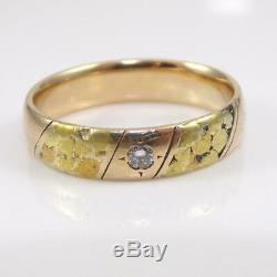 Vtg 14K Yellow Gold Diamond & 22K Gold Nugget Wedding Band Mens Ring Size 9 LFJ2