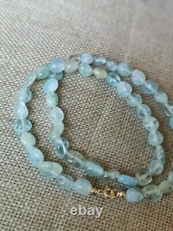 Vtg NATURAL aquamarine nugget bead necklace choker solid 9ct yellow gold