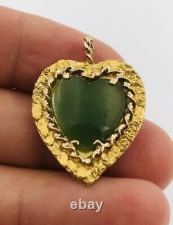 Vtg Natural Alaskan Alaska 23k & 10k Yellow Gold Nugget Jade Heart Pendant 5.3g