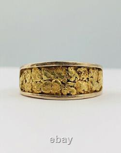 Vtg Natural Alaskan Alaska 23k & 14k Yellow Gold Nugget Men's Band Ring 10.2g