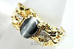 Women's VTG 1980's Black Tiger Eye Sapphire & Diamond 1 ct Nugget 14k Gold Ring