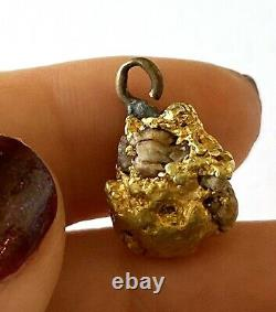 Yellow Gold Natural Nugget 89.76% Pure With Rock Quartz Handmade Charm Pendant