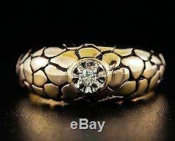 ZALES VINTAGE ESTATE NATURAL DIAMOND SOLITAIRE 14k YELLOW GOLD NUGGET MENS RING